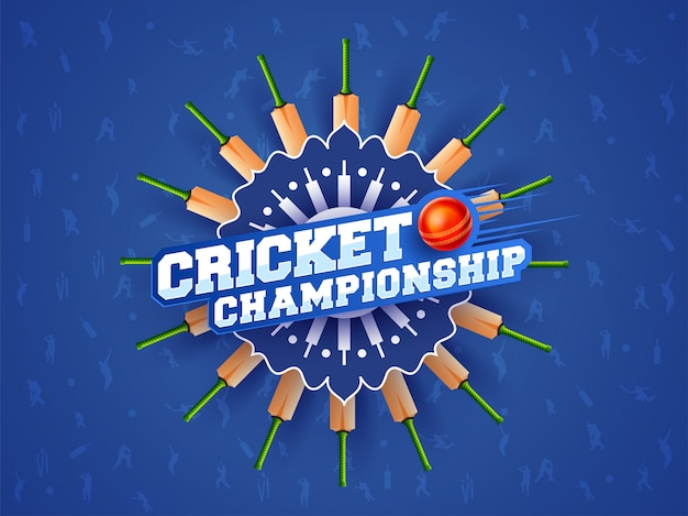 Cricket championship text on blue abstract background with multiple bats and ball.
