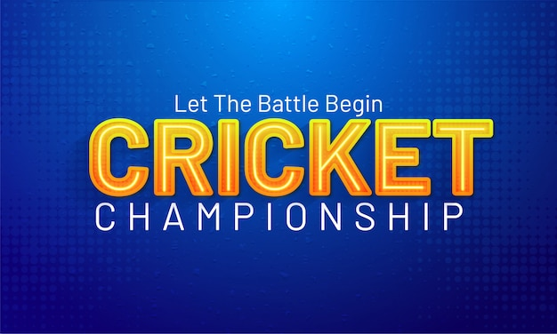 Cricket championship text on glossy blue background.