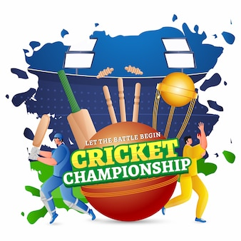 Cricket championship text in sticker style with trophy cup, batsman and bowler character in playing pose on abstract stadium view background.