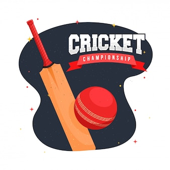 Cricket championship text with bat and ball on grey and white background.