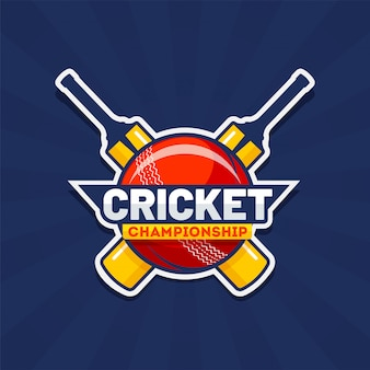 Cricket championship text with cricket tournament in sticker style