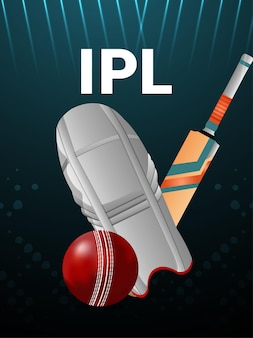 Cricket championship tournament background with cricket equipment