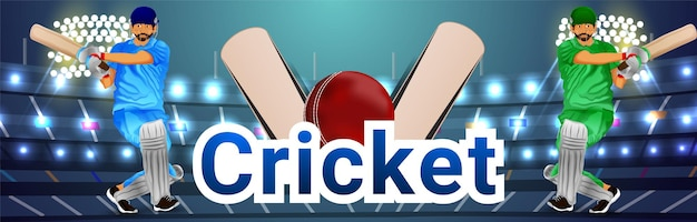 Cricket championship tournament banner with cricketer and cricket equipment