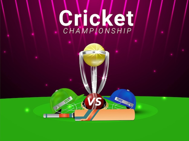 Cricket championship tournament match with gold trophy