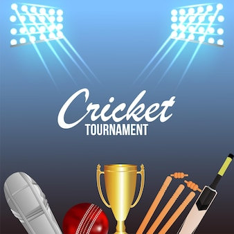 Cricket championship tournament with gold trophy and cricket equipment