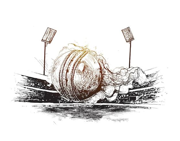 Чемпионат по крикету с мячом калитка на стадионе для крикета от руки эскиз графического дизайна вектор