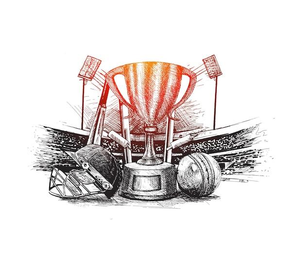 Чемпионат по крикету с мячом калиткой на стадионе для крикета от руки эскиз графического дизайна