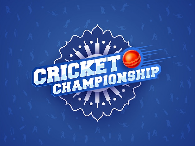 Cricket championship word on blue abstract background.
