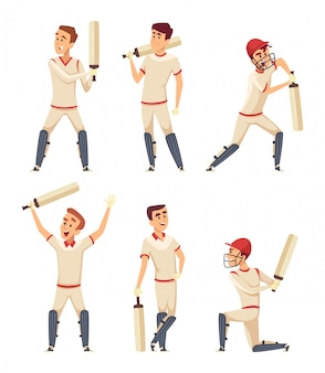 Cricket characters. set of various sport players in action poses