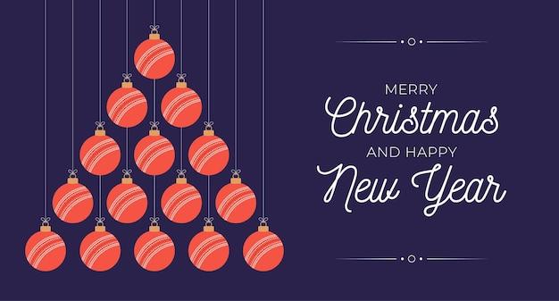 크리켓 크리스마스와 새 해 인사말 카드 값싼 물건 나무. 크리스마스와 새해 축하를 위해 검은 배경에 크리켓 공으로 만든 창의적인 크리스마스 트리. 스포츠 인사말 카드