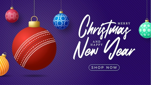 Cricket christmas card. merry christmas sport greeting card. hang on a thread cricket ball as a xmas ball and colorful bauble on purple horizontal background. sport vector illustration.
