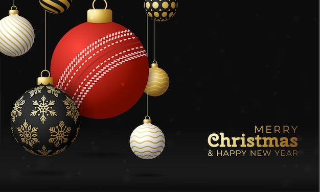 Cricket christmas card. merry christmas sport greeting card. hang on a thread cricket ball as a xmas ball and golden bauble on black horizontal background. sport vector illustration.
