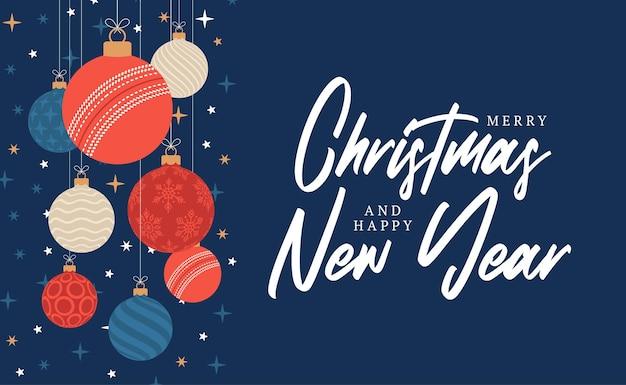 크리켓 크리스마스 인사말 카드입니다. 기쁜 성 탄과 새 해 복 많이 받으세요 평면 만화 스포츠 배너입니다. 배경에 크리스마스 공으로 크리켓 공입니다. 벡터 일러스트 레이 션.