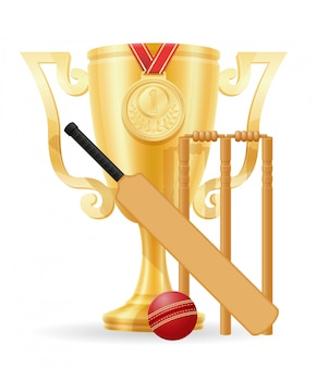 Cricket cup winner gold stock vector illustration