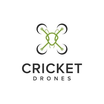 Cricket and drone outline simple sleek creative geometric modern logo design