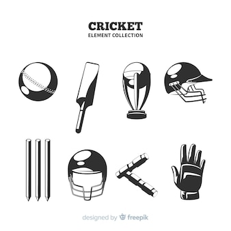 Cricket elements silhouette collection