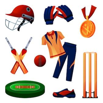 クリケット用品とスポーツウェアのセット