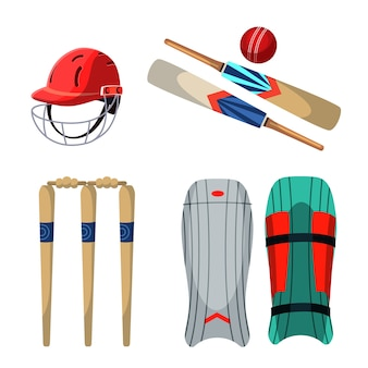 Cricket equipment illustrations set, protective helmet and pads, ball, wooden wicket and bats.