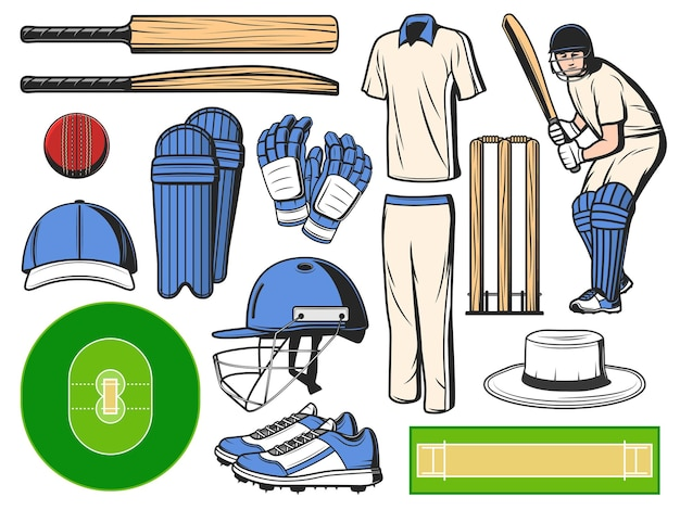 Cricket equipment, sport icons of ball, bat and wicket game items