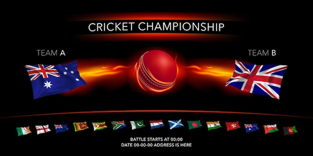 Cricket game  banner with ball with lightning and flags of the cricket teams