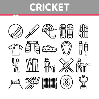 Cricket game collection elements icons set