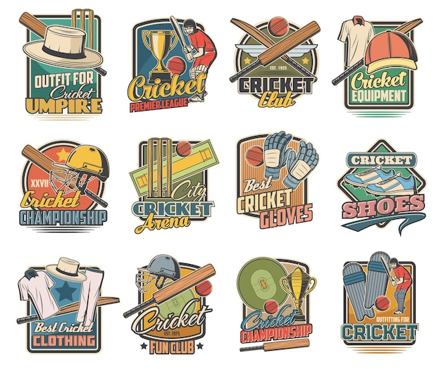 Cricket game, sports equipment and stadium. cricket ball, bat and player uniform helmet, gloves and shoes with green lawn. sport club and championship match retro emblems set