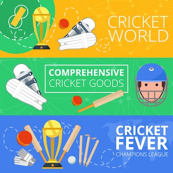Cricket horizontal banners flat