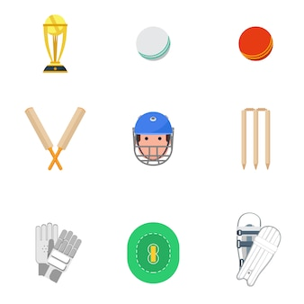 Cricket icons set flat