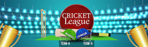 Cricket league championship banner with cricketer helmet