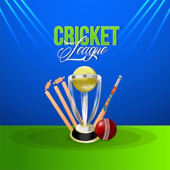 Cricket league championship match with golden trophy, wicket and ball