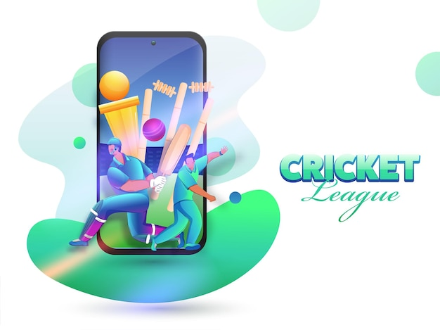 Cricket league concept with cartoon batsman, bowler character and golden trophy cup in smartphone screen.