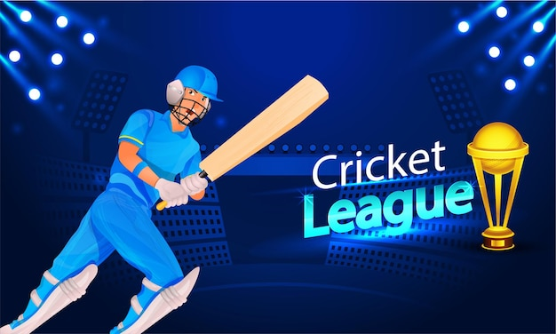 Cricket league concept with cartoon batsman