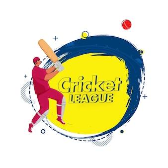 白い背景にボールとブラシ効果を打つ顔のない打者とクリケットリーグのコンセプト。