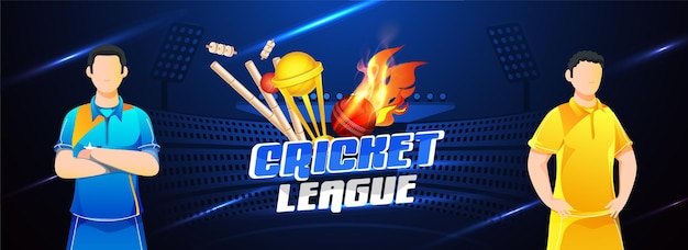 Cricket league header or banner design with two players character of participate team on blue stadium background.