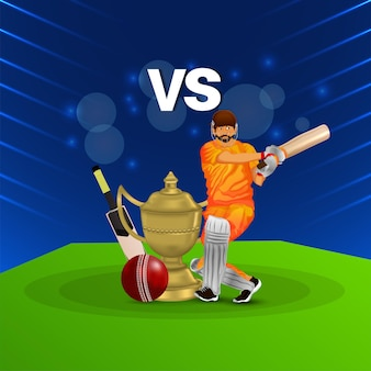 Cricket league match with illustration of cricketer