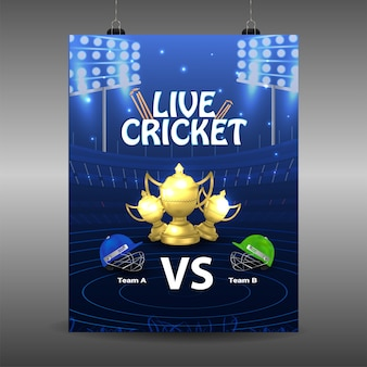 Cricket league poster with golden trophy and cricketers helmet