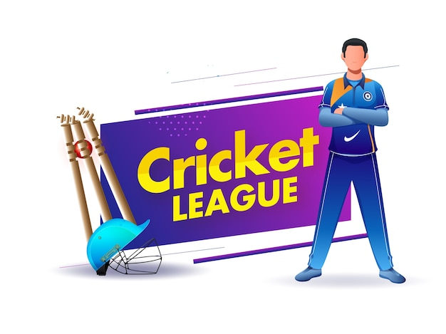 Cricket league poster  with realistic helmet, ball hitting wickets and player character on white background.