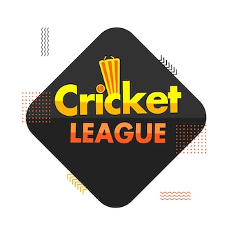 Cricket league text with sticker style ball hitting wicket stump on black and white background.