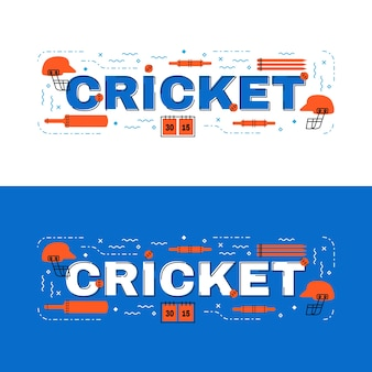 Cricket  lettering flat line design with icons