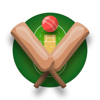 Логотип крикета с крестом битой, мячом и полем. современный профессиональный спортивный ретро-стиль эмблема и шаблон логотипа.