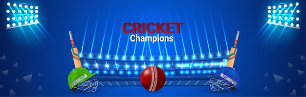 Cricket match concept banner with cricketer helmet and bats