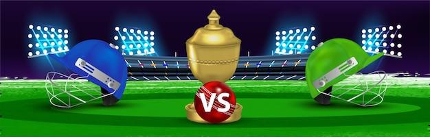 Cricket match concept on stadium