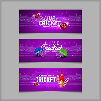 Cricket match concept with stadium, batsman playing cricket and gold trophy, banner collection