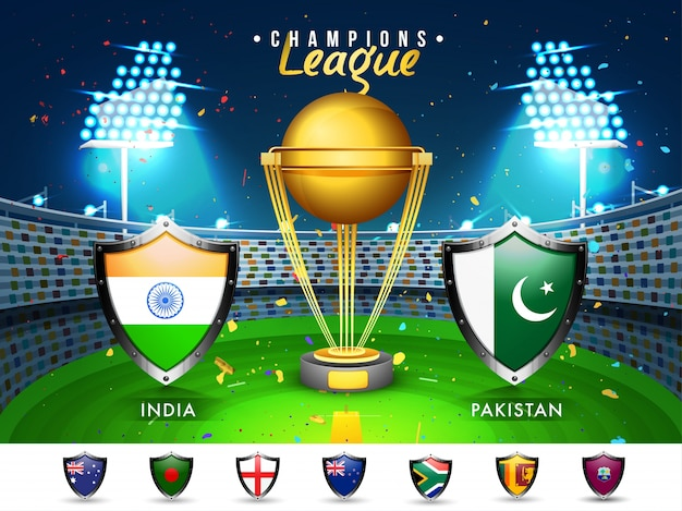 クリケット・マッチパキスタン対パキスタンの参加国の旗は、輝くスタジアムの背景を強調しています。