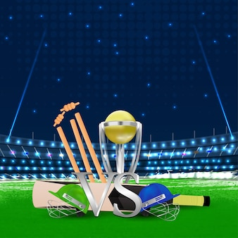 Cricket match with bat and trophy