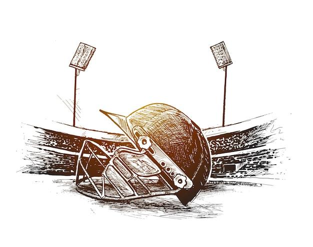 クリケットスタジアムのフリーハンドスケッチグラフィックデザインベクトルのボールヘルメットを持つクリケット選手