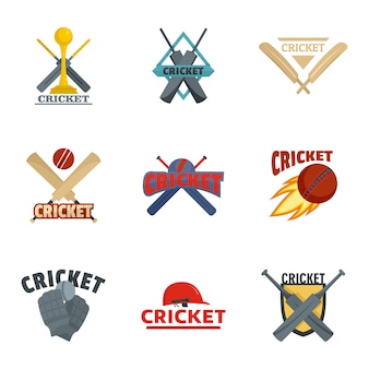Cricket sport ball bat logo icons set