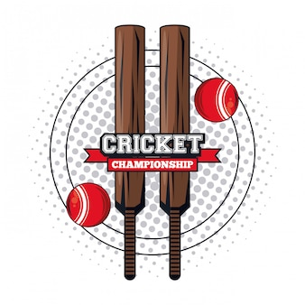 Cricket sport emblem