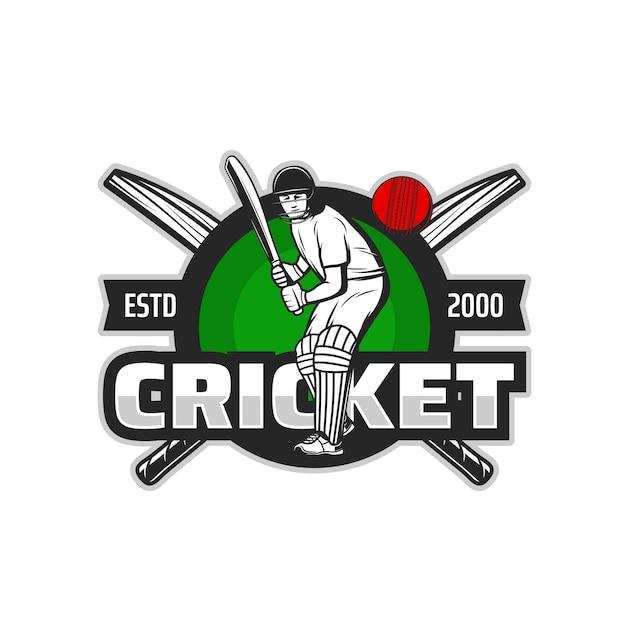 緑の芝生のフィールドにバット、チームゲームのユニフォームの安全ヘルメット、レッグパッド、手袋でボールを打つ打者のクリケットスポーツ選手のベクトルアイコン。クリケットのスポーツクラブとチャンピオンシップの試合の孤立したシンボル