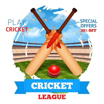Cricket stadium illustration